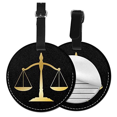 DJNGN Básculas de etiqueta de equipaje negro, bolso de cuero de la PU, maletas de viaje, identificador de identificación, etiqueta de equipaje para mujeres, hombres, niños, niñas