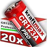kraftmax 20er Pack CR123 / CR123A Lithium Hochleistungs- Batterie für professionelle Anwendungen - Neueste Generation