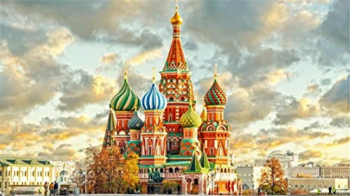 ZSFFSZ Puzzle per Adulti 500 Pezzi per Adulti, Città Vecchia Mosca Decorazione di Assemblaggio in Legno per Il Regalo del Gioco Giocattolo Domestico