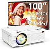 QKK Portable LCD Projector 3500 Brightness [100' Projector Screen Included] Full...