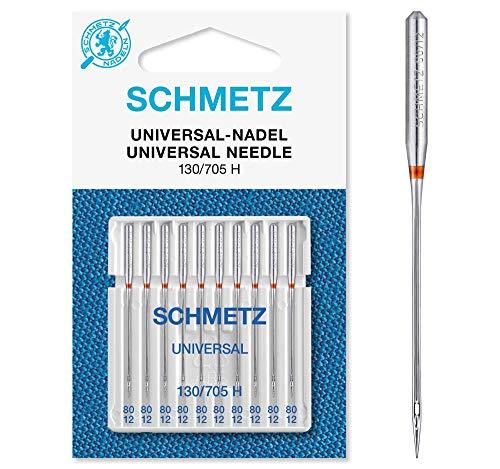 SCHMETZ Nähmaschinennadeln: 10 Universal-Nadeln, Nadeldicke 80/12, 130/705 H, auf jeder gängigen Haushaltsnähmaschine einsetzbar