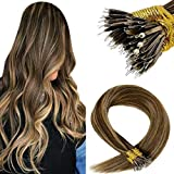 LaaVoo Nano Tip Hair Extension Ring 18 Pulgadas Straight Nano Beads Remy Human Hair #Marrón Oscuro Highlighted Caramelo Rubio Remy Extensiones de Cabello Humano 50g/50s
