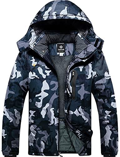 GEMYSE Chaqueta de Esquí Impermeable de Montaña para Hombre Abrigo de Invierno de Lana Antiviento con Capucha (Camuflaje 08,XL)