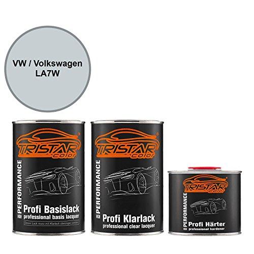 TRISTARcolor Autolack Set Dose spritzfertig für VW/Volkswagen LA7W Reflexsilber Metallic/Reflex Silver Metallic Basislack + 2K Klarlack 2,5L