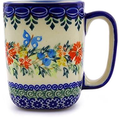 Polish Pottery Mug 10 oz (Red Cornflower And Blue Butterflies Theme) Signature UNIKAT