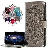 MRSTER Funda para Xiaomi Mi 9T, Estampado Mandala Libro de Cuero Billetera Carcasa, PU Leather Flip Folio Case Compatible con Xiaomi Mi 9T. LD Mandala Grey