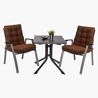 Pack 2 Cojines de Silla con Respaldo para Jardin. Conjunto de 2 Cojines para sillones de Interior y Exterior Cómodo. Cojines para sillas con Respaldo, Cojines sillones, tumbonas, terraza. (Marrón)