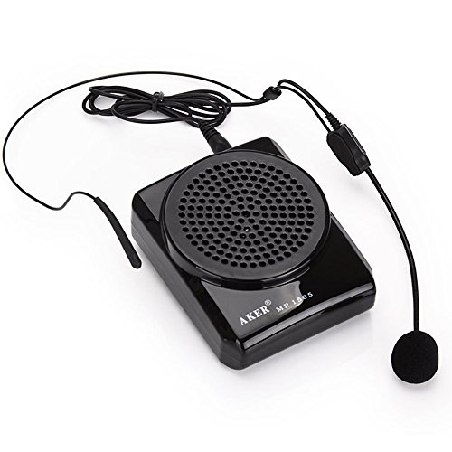 Aker MR1505 12 watts Portable Voice Amplifier for Teachers, Coaches, Black