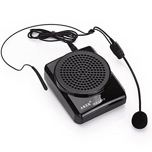 Amplificador portátil Aker MR1505, 12W para profesores, entrenadores, negro