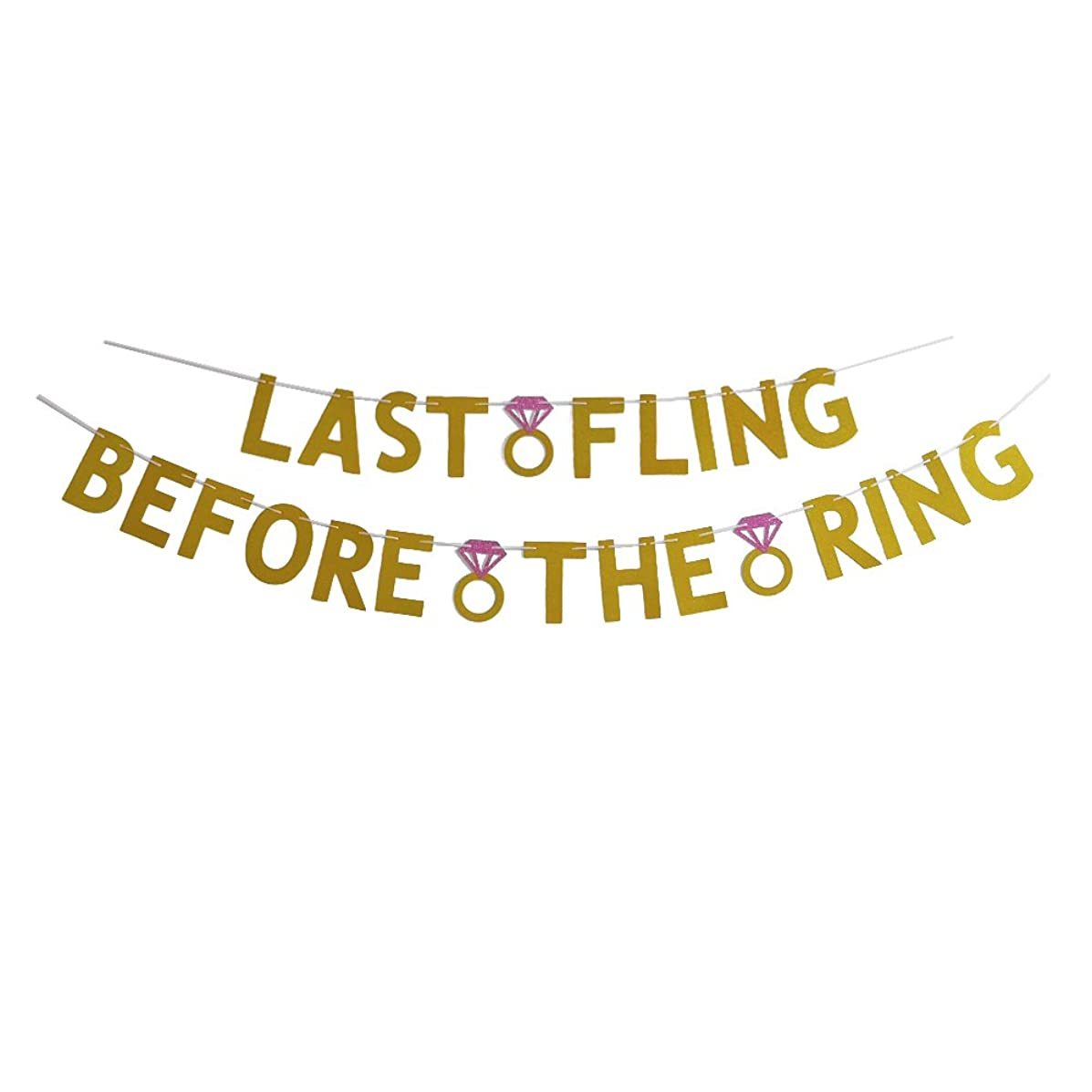 MAGQOO Gold Glitter Last Fling Before The Ring Bachelorette Party Banner