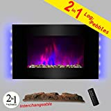 AKDY 36' LED Wall Mount Electric Fireplace Modern Space Heater Flat Tempered Glass w/Remote Control