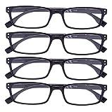 4 Pack Vintage Reading Glasses Men Comfort Readers Women Reading Eyeglasses(Black,+1.50)