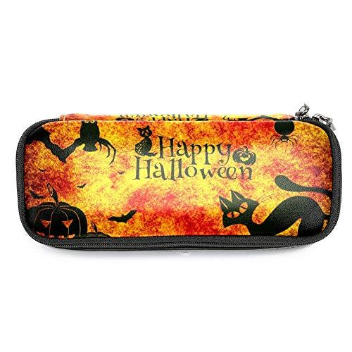 """TIZORAX Federmäppchen mit Aufschrift """"Happy Halloween"""", Katzen, Eule, Spinne, Kürbis, Federmäppchen, Make-up-Tasche, Stifthalter für Schule und Büro"""