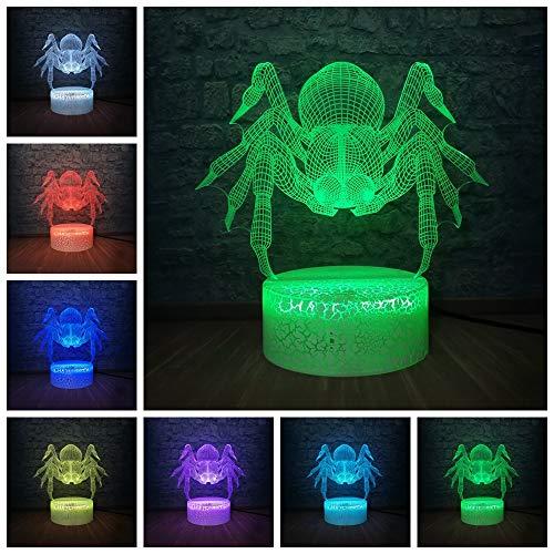 sanzangtang luz Nocturna led-3D-siete Colores-Control Remoto Novedad Modelo Animal araña luz Nocturna luz Decorativa Cambio Colorido niños Moda Moda Regalo niño Juguete