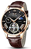 UNUORS Men's Watches Mechanical Skeleton Automatic Self-Winding Waterproof Watch for Men, Classic Casual Fashion Leather Wrist Watch with Dual-time Dial, Moon Phrase, Luminous Hands