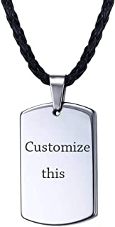 Personalized Tungsten Dogtag,Mens Customized Name Initial Engraved Tungsten Carbide Dogtag Pendant Necklace for Men
