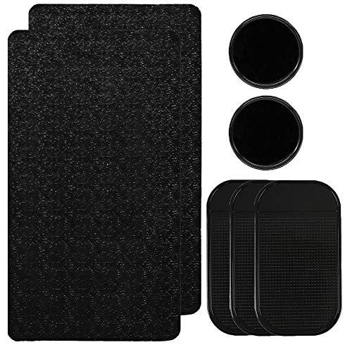 CNYMANY 7 Stück Anti-Rutsch-Auto-Gel-Pads, 3 Arten, extra dick, klebend, rutschfeste Armaturenbrett-Matte für Handy, Sonnenbrille, Schlüssel – Schwarz