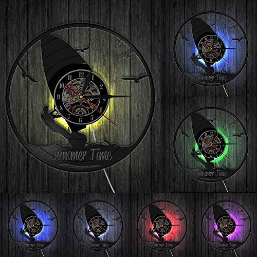 Decoración del hogar Reloj de horario de Verano Windsurf Decoración de Pared Sala de Deportes Reloj de Pared Windsurfers Reloj de Disco de Vinilo Deportes acuáticos Extremos Regalo de los Amantes