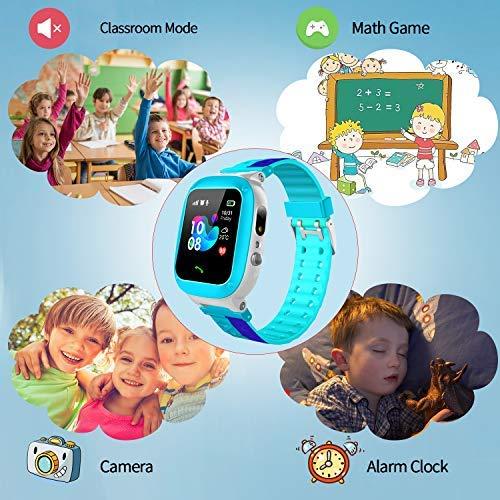 Smooce Kinder Smartwatch Telefon Uhr,wasserdichte Kid Smart Watch für Jungen Mädchen mit LBS Tracker SOS Anruf Kamera Anti-Lost Voice Chat (Blue)