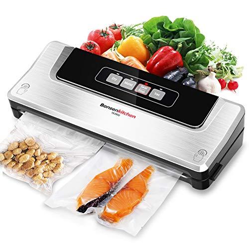 Bonsenkitchen Vakuumiergerät, Vakuumierer Folienschweißgerät für Sous Vide Kochen und Lebensmittel Bleiben bis zu 8x Länger Frisch | Trocken und Feucht Modi | Vakuumbeutel Inklusive