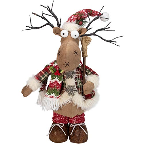 Northlight 23' Winter Ready Plaid Christmas Standing Moose Figure with LED Antler