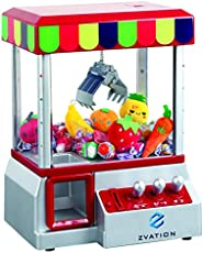 Zvation The Claw Toy Grabber Machine with Authentic Arcade Sounds, Flashing Lights & Volume Control Switch - Electronic Carnival Crane Toy Game, Animation, Includes 6 Plush Fruits for Exciting Play