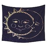Tapiz de Pared Luna y Sol Indio Tapiz Blanco y negro Psicodélico Estrellado Tapiz Atrapasueños Colgante de Pared Mandala Tapices para Dormitorio Sala de Estar-Luna, 150x200CM