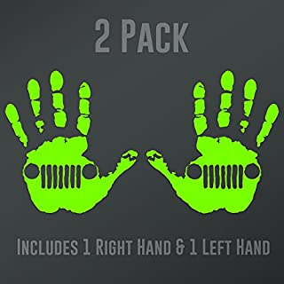 DD902LG 2-Pack Jeep Wave (1 Right, 1 Left Handed) Decal Sticker | 5.5-Inches Wide | Premium Quality Lime Green Vinyl Decal
