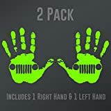 DD902LG 2-Pack Jeep Wave (1 Right, 1 Left Handed) Decal Sticker   5.5-Inches Wide   Premium Quality Lime Green Vinyl Decal