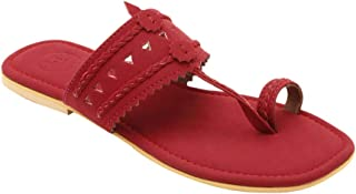 Hopscotch Baby Boys and Baby Girls Faux Leather Kolhapuri in Maroon Color,UK:6.5 (KUR-1945782)