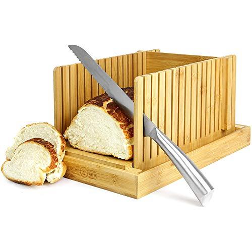 Trancheur à Pain En Bambou | Planche à Découper Et Guide Pour Trancher Les Couteaux | Réglable, Pliable, Compact | Convient Aux Gâteaux Et Pains De Pain Faits Maison Ou Achetés