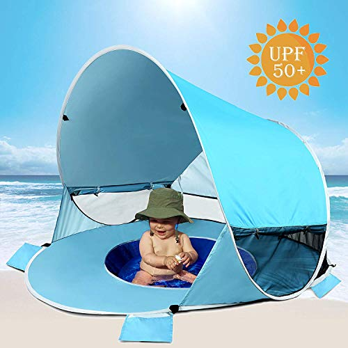 Poray Sports Baby Beach Tent with Built-in Pool, Infant Pop Up Tent with 2 Mesh Side Windows, 2 Side Pockets, UPF 50+ Sun Shade Shelter with Rear Zipper Panel for Aged 0-3, Fits 1-2 Children