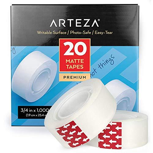 Arteza Klebeband matt semitransparent 19mm breit, 20 Rollen Set, unsichtbares Klebeband beschriftbar 2.54m lang für Geschenkverpackung, Etikettierung, Versiegelung, Schminken, DIY-Bastelprojekte
