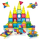JUMAGA Magnetic Building Blocks Tiles for Kids Age 3+, 3D Construction Magnet Toys STEM Educational Gifts Set, Car Wheel and Idea Book Included, 68 Piece