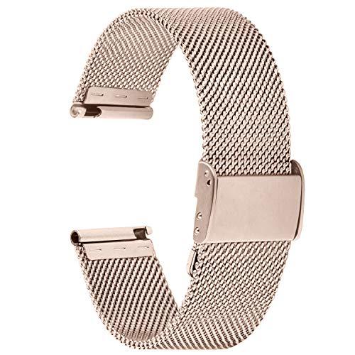 Fullmosa 【2021 Nuevo】 Correa de Reloj, Correas de Repuesto de Malla de Acero Inoxidable para Reloj (Samsung Gear s3s2 / ASUS Zenwatch/Huawei Watch/Reloj Inteligente Smartwatch etc.) Oro, 18mm