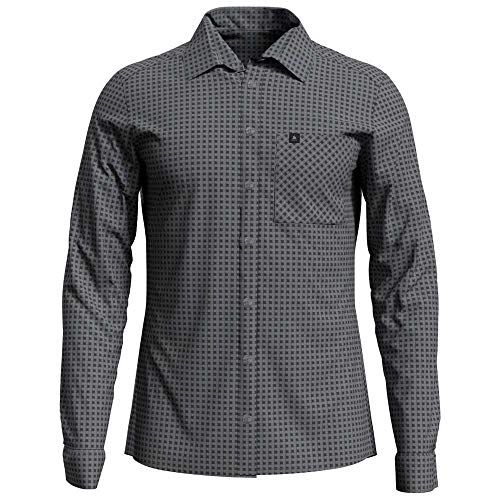 Odlo Herren Nikko Langarm-Hemd, Graphite Grey Concrete Grey-Check, L