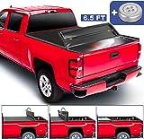 MOSTPLUS Quad Fold Soft Truck Bed Tonneau Cover Compatible for 2014-2019 Chevy Silverado GMC Sierra 1500/2015-2018 Silverado Sierra 2500 3500 HD 6.5 FT Bed Fleetside On Top