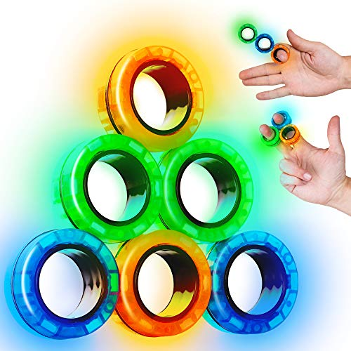 SCRATCHIEZ Magnetic Rings Fidget Toys for Adults and Children – Glow in The Dark Stress Relief...