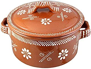 Vintage Portuguese Traditional Clay Terracotta Casserole With Lid Made In Portugal Cazuela (N.3 9 1/8
