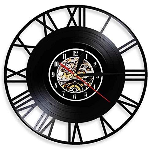 Reloj de Pared Reloj de vinilo Números romanos Récord de vinilo Reloj de pared 3D Diseño moderno Sala de bar de oficina Decoración for el hogar Arte creativo Reloj de pared Regalo, 12 pulgadas (30 cm)