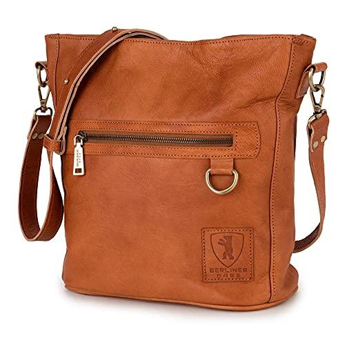 Berliner Bags Schultertasche Siena, Umhängetasche aus Leder Handtasche für Frauen Vintage Braun