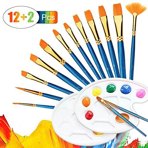 UEOTO Pinselset Malen, 14 pcs Pinsel-Set mit Mischpalette für Acrylfarben Aquarellfarben Ölfarben Leinwand Gemälde, Öl Aquarell Acryl Farben Set Künstler Malpinsel Erwachsene Kinder
