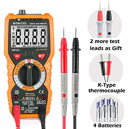 Multimètre Numérique Janisa PM18C AC DC Testeur Electrique Digital Automatique Non-Contact Voltmètre Ampèremètre Ohmmètre Détecteur de tension Maintien avec Rétroéclairage Ecran