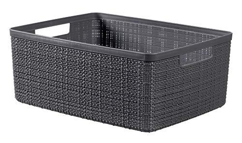Keter Jutekorb, 100% recycelter Kunststoff, rechteckig, 12 l Medium dunkelgrau
