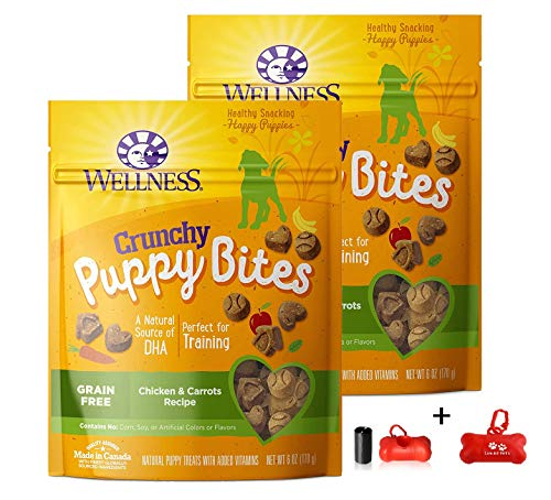 Wellness Crunchy Puppy Bites Natural Grain Free Puppy Training Treats, Chicken & Carrots, 2 Pack (12oz Total) Including Luving Pets Waste Bag Dispenser