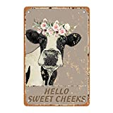 Sweet Cheeks Cow Wall Decor,Hello Decorative Tin Sign Funny,Cheeky Cow Vintage Retro Poster Paintings Cute Hello Cow Decoration Home Bedroom Livingroom Bathroom Decor Picture,Fun Gift,812inches