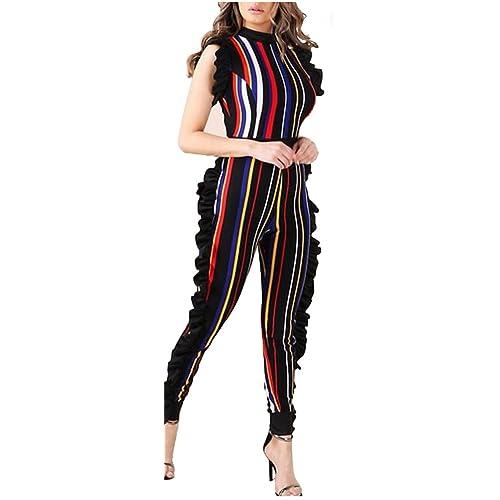 c114d3ae341d Speedle Womens Sleeveless Stripe High Neck Ruffle High Waist Bodyocn Jumpsuits  Long Romper Pants