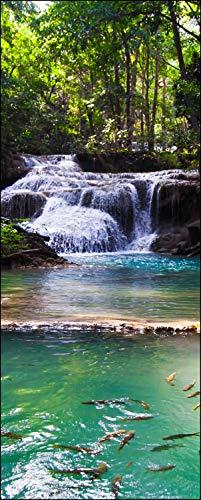 wandmotiv24 Türtapete Erawan Wasserfall, Thailand 80 x 200cm (B x H) - Dekorfolie selbstklebend Sticker für Türen, Tür-Bilder, Aufkleber, Deko Wohnung modern M1059