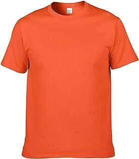 2021 Cotton Mens T-Shirt O-Neck Pure Color Short Sleeve Men T Shirt XS-3XL Man T-shirts Top Tee For Male (Color : Orange, ...