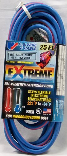 25' 16-3 SJEOW 13A EXTENSION CORD, W/ILLUMINATED PLUG, EXTREME ALL WEATHER, BLUE/RED (97025)